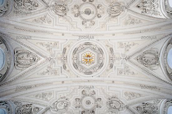 Ceiling vaulting baroque and pilgrimage church St. Coloman, Schwangau, Bavaria, Germany