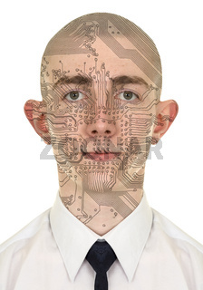 Person with a circuit computer skin