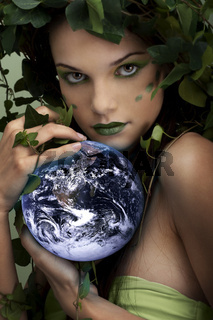 Mother nature protecting earth