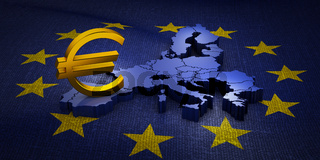 sign  Euro on the  map