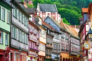 Traditional half-timbered houses in Miltenberg near Frankfurt, Germany