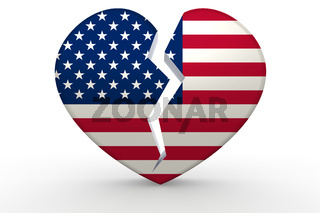 Broken white heart shape with United States flag