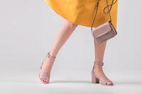 Fashionable kit of handbag and shoes.