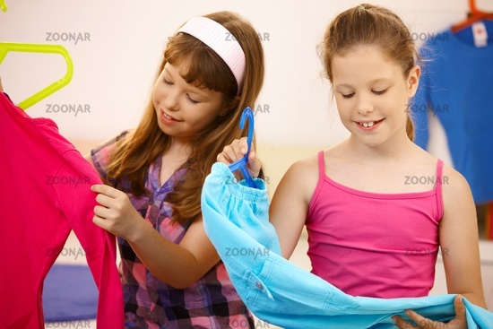 Portrait of girls with clothes