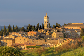 San Quirico d'Orcia an Italian village in Tuscany at sunset