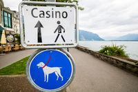Casino walk sign board in Montreux, Switzerland