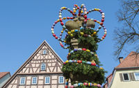 Easter in Langenburg with decorated water well, Germany