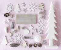 Christmas Decoration, Flat Lay, Copy Space, Snowflakes