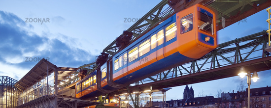 suspension railway at the station Oberbarmen, Wuppertal, Bergisches Land, Germany, Europe
