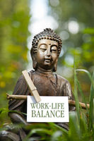Buddha statue with the words Work-Life Balance