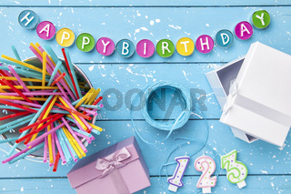 Colorful Happy Birthday background with copyspace