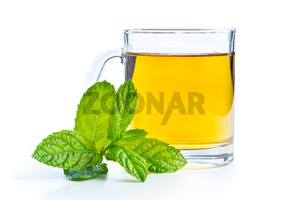 Mint tea and mint leaves.