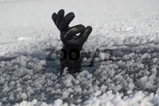 Ein Taucher steckt seine Hand durch eine kleine Öffnung der zugefrorenen Wasseroberfläche
