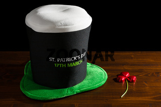 St Patrick day with hat and shamrock