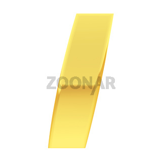 Gold alphabet symbol letter I with gradient reflections isolated on white. High resolution 3D image