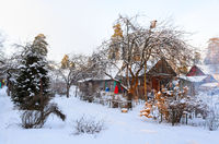 snowy rural house