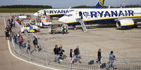 airport Frankfurt-Hahn, passangers entering a machine of Ryan Air, Germany, Europe