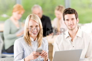Portrait of student businesspeople in office