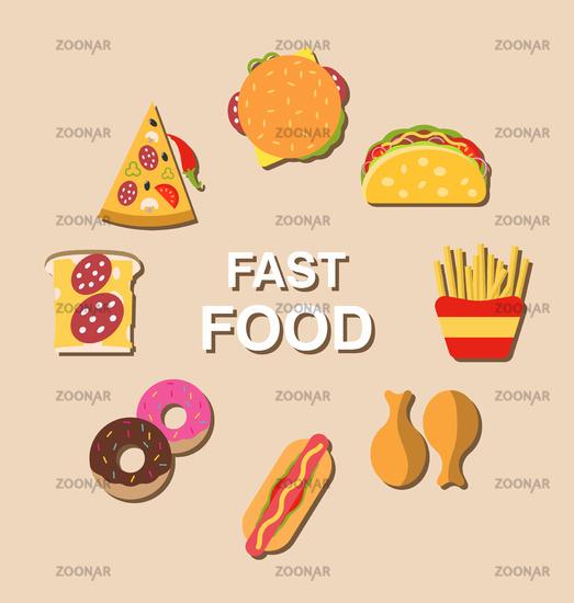 Set fast food flat icons