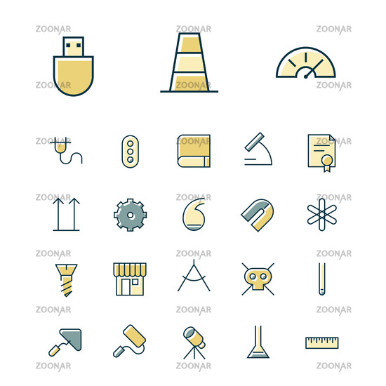 Thin line icons for science and industrial