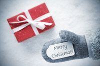 Red Gift, Glove, Text Merry Christmas, Snowflakes