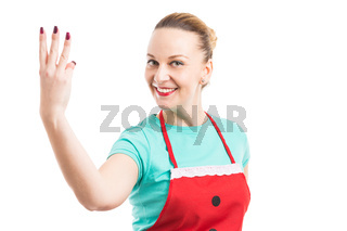Housewife or cleaning lady showing number three
