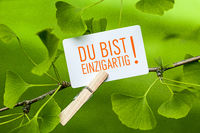 The Words Du bist einzigartig! in a Ginkgo Tree