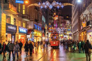 Istanbul Nostalgic Tramway on Istiklal Street at night, Istanbul, Turkey