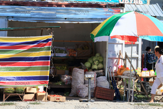 Fruit and vegetable stall, Grigorievka, Kyrgyzstan