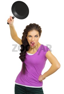 Young angry woman the chef isolated