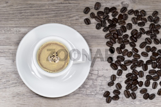 Fresh espresso with blurred background from above