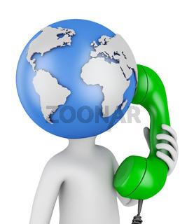 globe with  handset