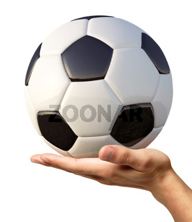 Man's hand holding a soccer ball on palm.