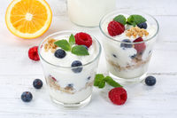 Beeren Joghurt Beere Glas Früchte Müsli Frühstück