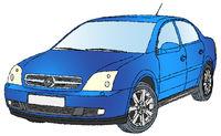 Blue medium-sized vehicle