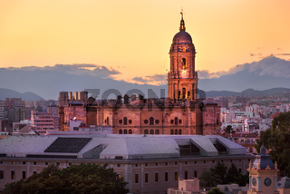 Aerial View of Malaga Cathedral in the Evening, Malaga, Andalusia, Spain