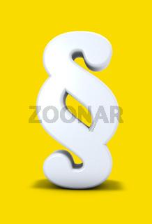 paragraphsymbol auf gelbem hintergrund - 3d rendering