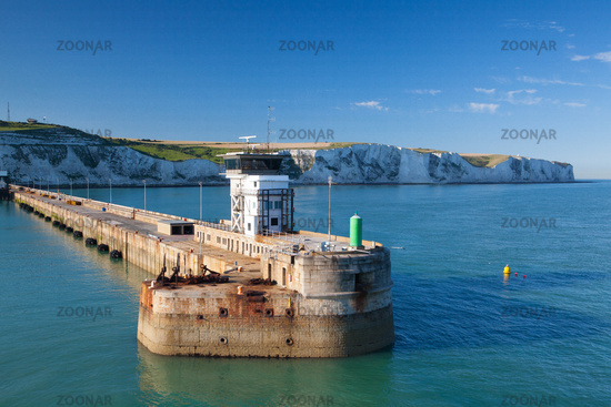 White cliffs and Dover harbor along the coast of English channel