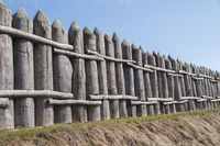 Reconstructed Limes boundary wall in Mainhardt, Germany