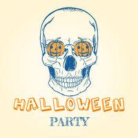 Halloween doodle - skull and pumpkins