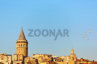 Istanbul cityscape in Turkey with Galata Tower, 14th-century city landmark in the middle.