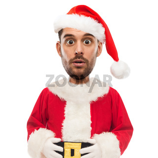 surprised man in santa claus costume over white