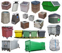 Outdoors baskets, bins, containers and garbage bag  different shapes and designs