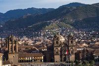 City landscape of Cusco, Peru during sunset