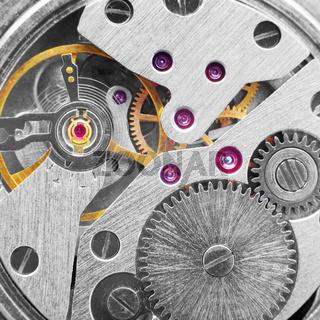 Metal clockwork (macro-photo)