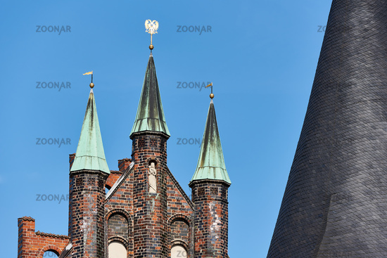 Detail of Holsten Gate, Lübeck, Germany