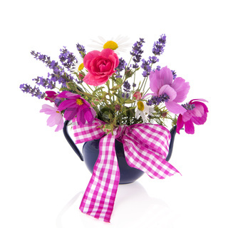 Mixed bouquet garden flowers with ribbon