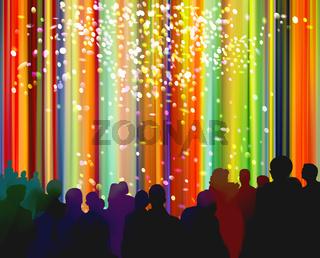 menschen vorhang silhouetten bunt konfetti