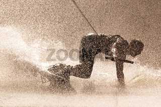 Dynamic Photo Of A Person Drifting While Waterboarding