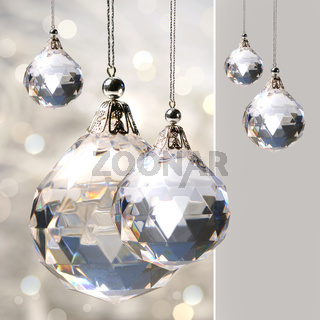 Crystal ornament hanging with lights
